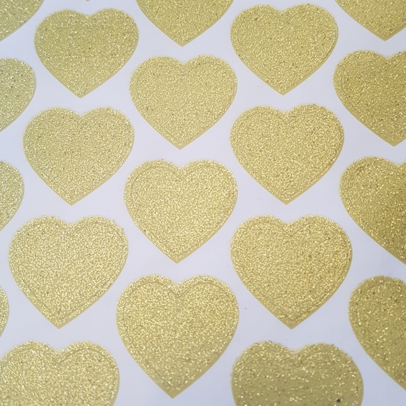 """25 pcs Gold Heart Stickers 1"""" inch"""